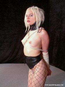 Blonde Bondage Babe Collared